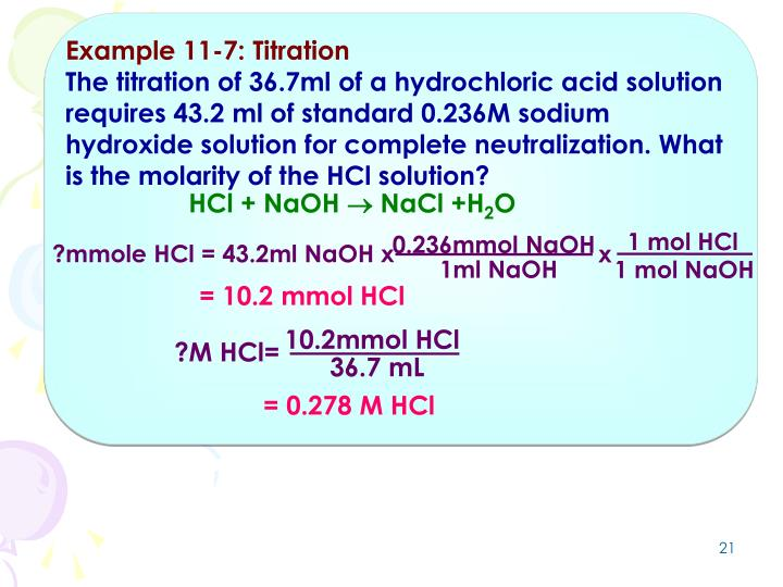 Example 11-7: Titration