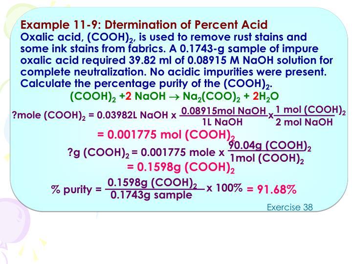 Example 11-9: Dtermination of Percent Acid