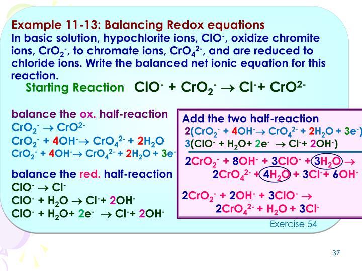 Example 11-13: Balancing Redox equations