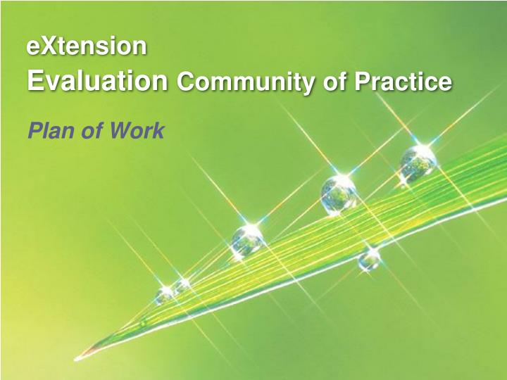 extension evaluation community of practice n.