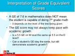 interpretation of grade equivalent scores