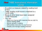 new tabe instructional information lexiles
