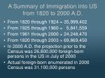 a summary of immigration into us from 1820 to 2000 a d