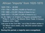 african imports from 1620 1870