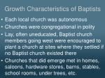 growth characteristics of baptists