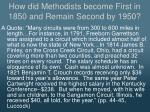 how did methodists become first in 1850 and remain second by 19501