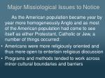 major missiological issues to notice