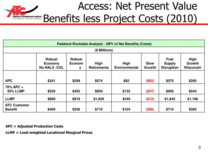 Access net present value benefits less project costs 2010