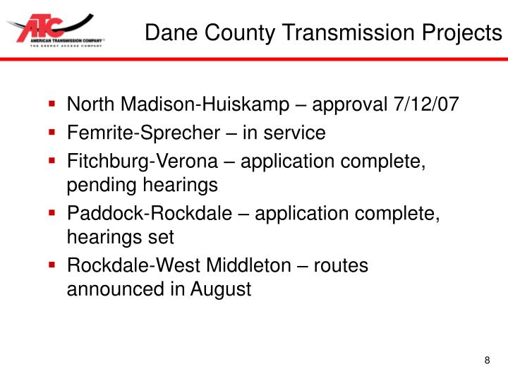 Dane County Transmission Projects