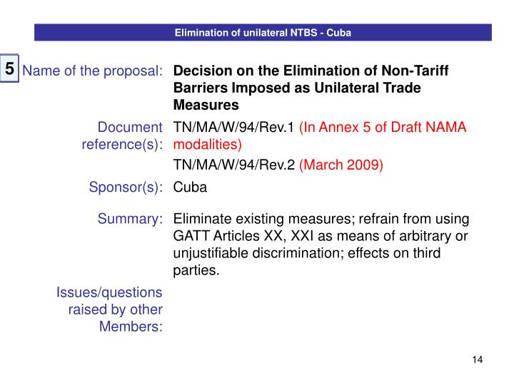 Elimination of unilateral NTBS - Cuba