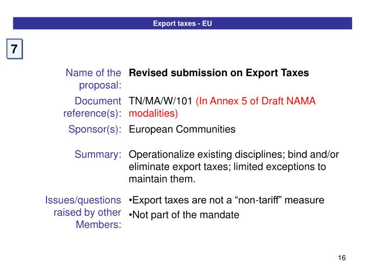 Export taxes - EU