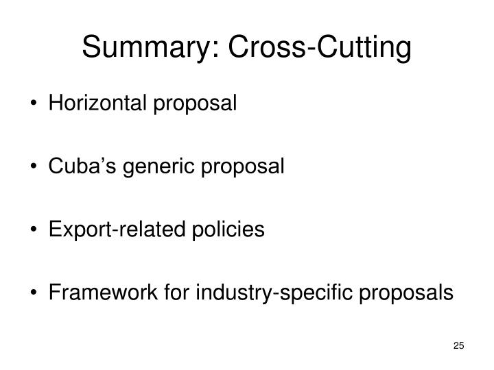 Summary: Cross-Cutting