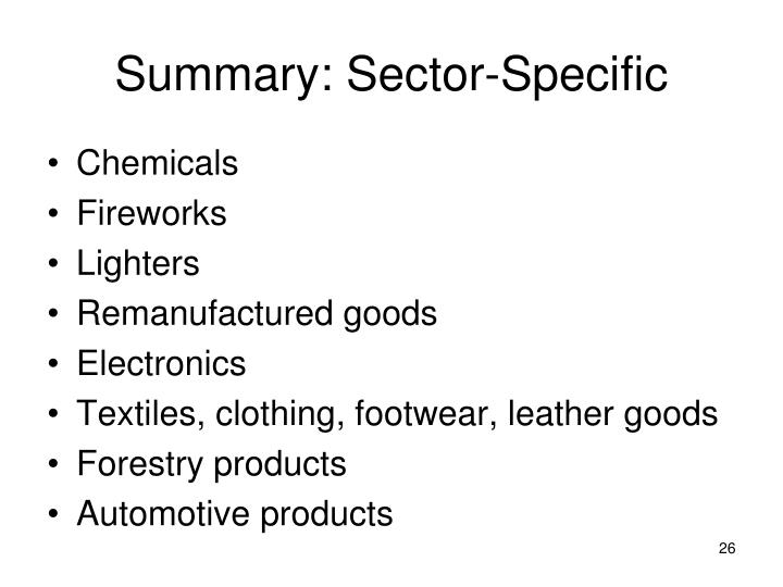 Summary: Sector-Specific