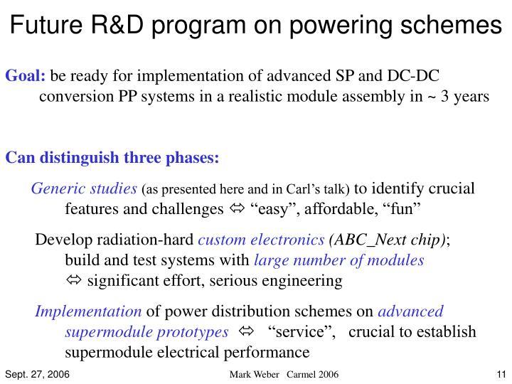 Future R&D program on powering schemes