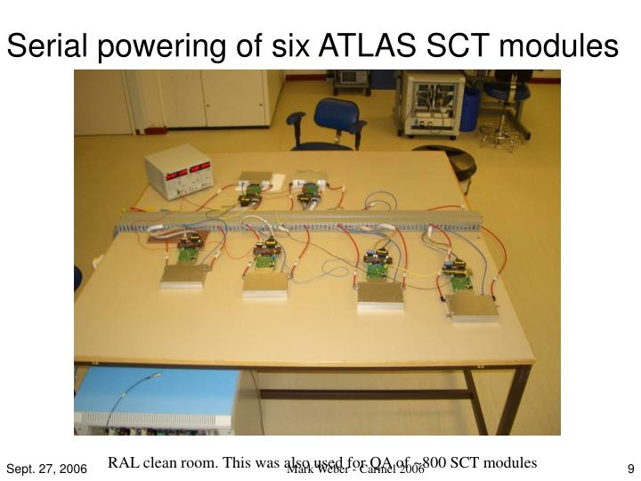 Serial powering of six ATLAS SCT modules