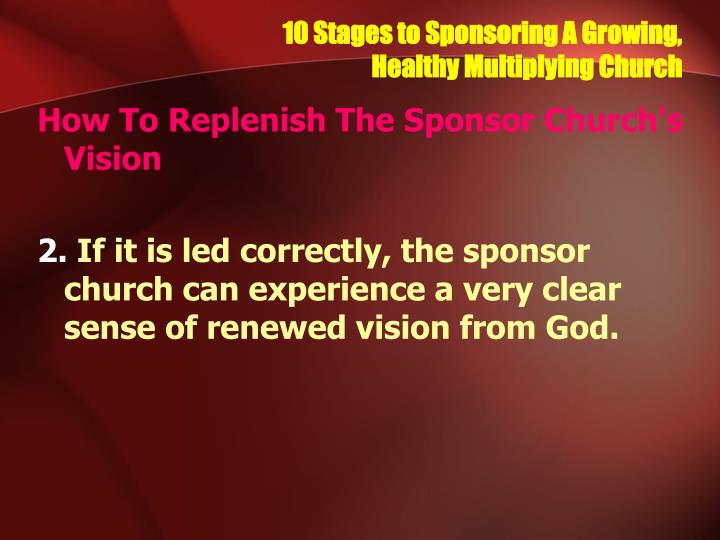10 Stages to Sponsoring A Growing,