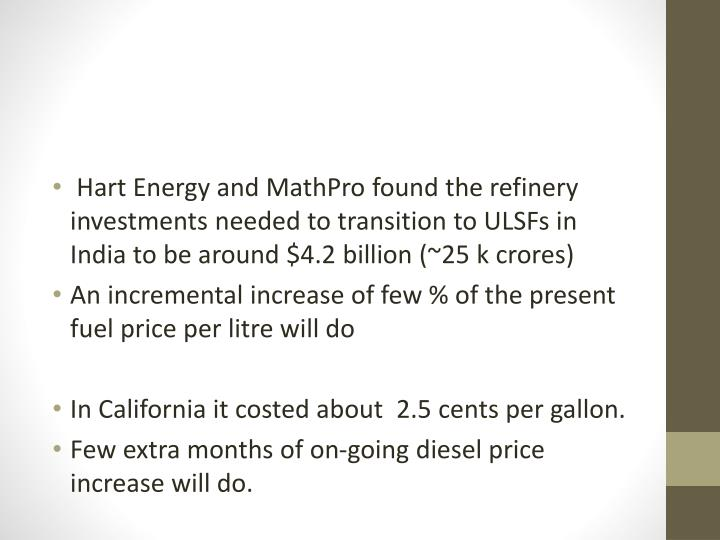 Hart Energy and MathPro found the refinery investments needed to transition to ULSFs in India to be around $4.2 billion (~25 k crores)