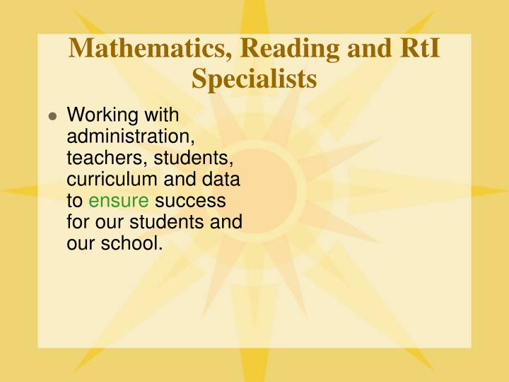 Mathematics reading and rti specialists1