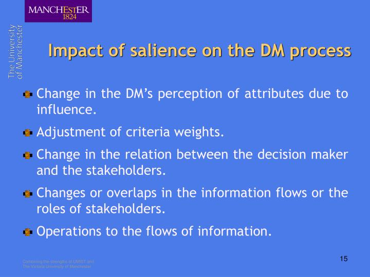 Impact of salience on the DM process