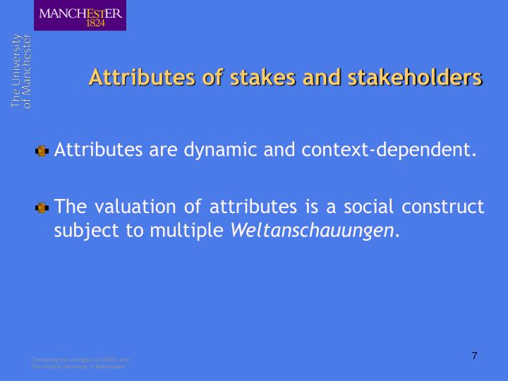 Attributes of stakes and stakeholders