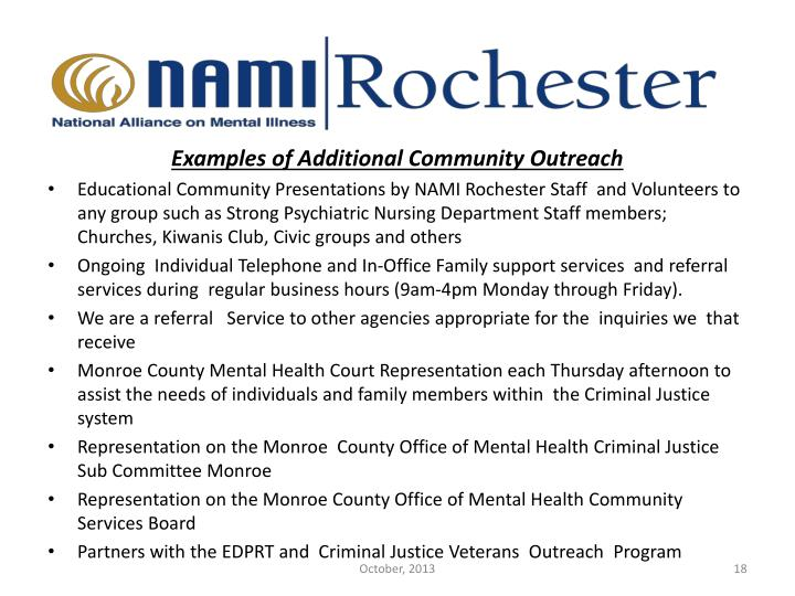 Examples of Additional Community Outreach