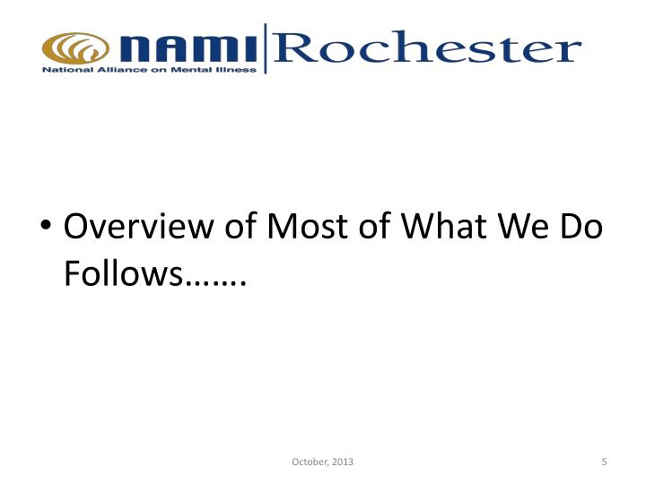 Overview of Most of What We Do Follows…….