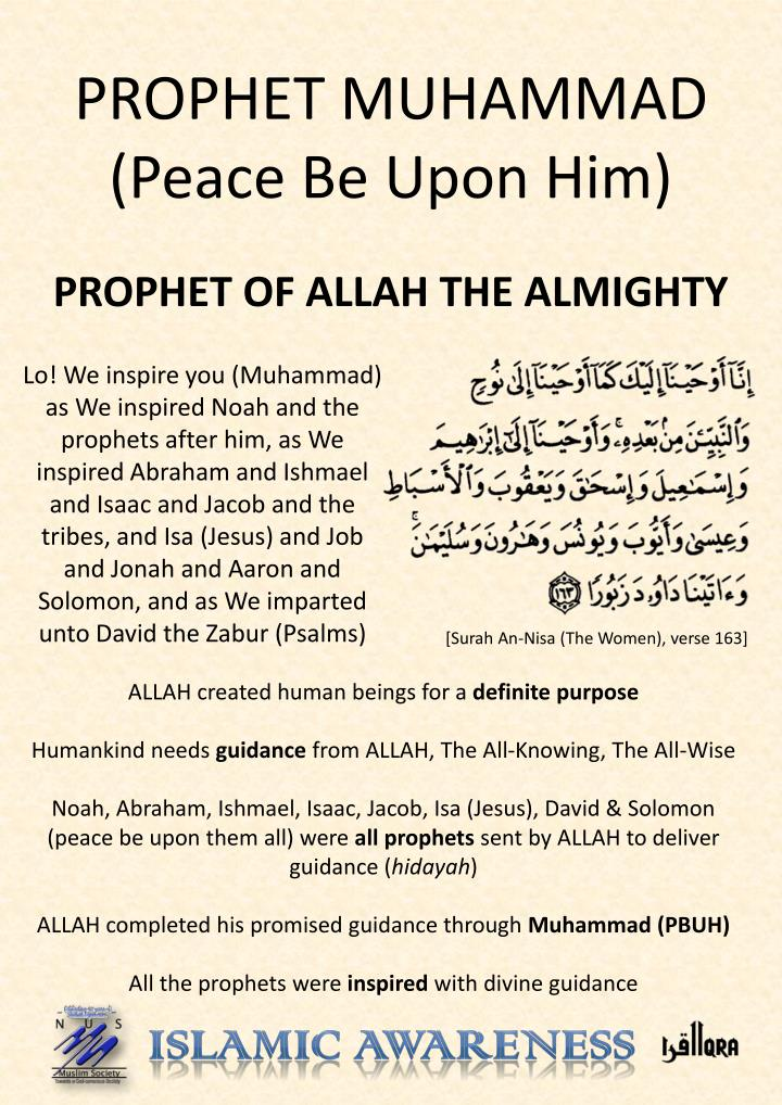 prophet muhammad peace be upon him n.