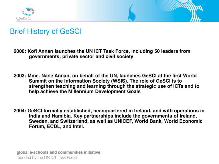 Brief history of gesci