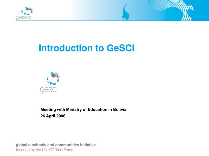 Introduction to GeSCI