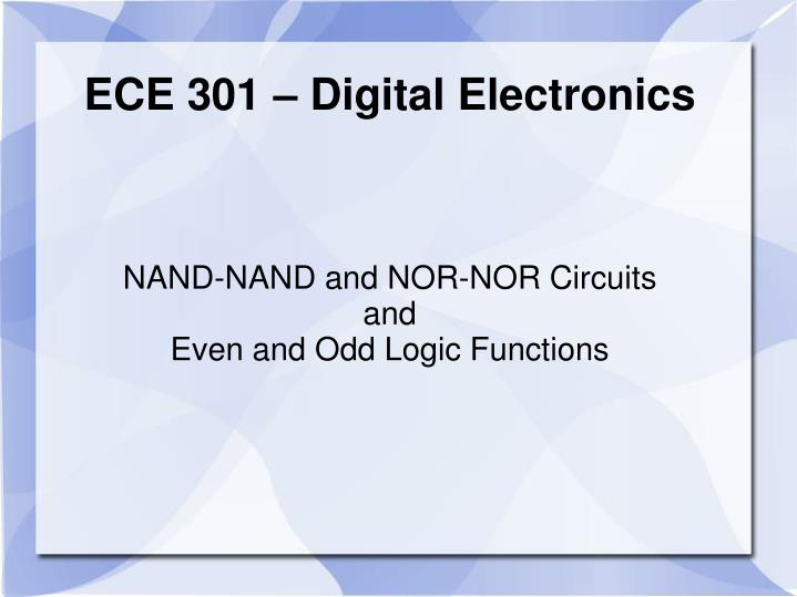 nand nand and nor nor circuits and even and odd logic functions n.