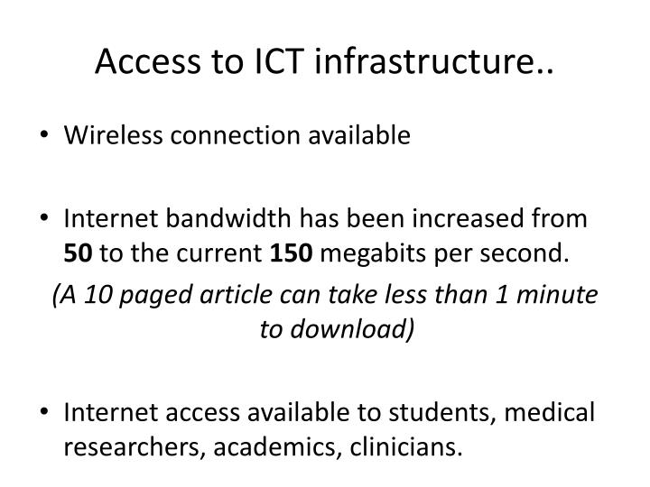 Access to ICT infrastructure..