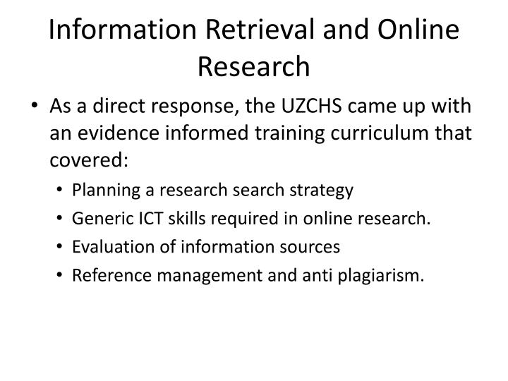 Information Retrieval and Online Research