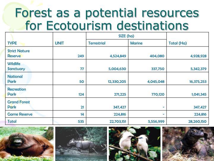 Forest as a potential resources for Ecotourism destinations