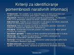 kriteriji za identificiranje pomembnosti narativnih informacij