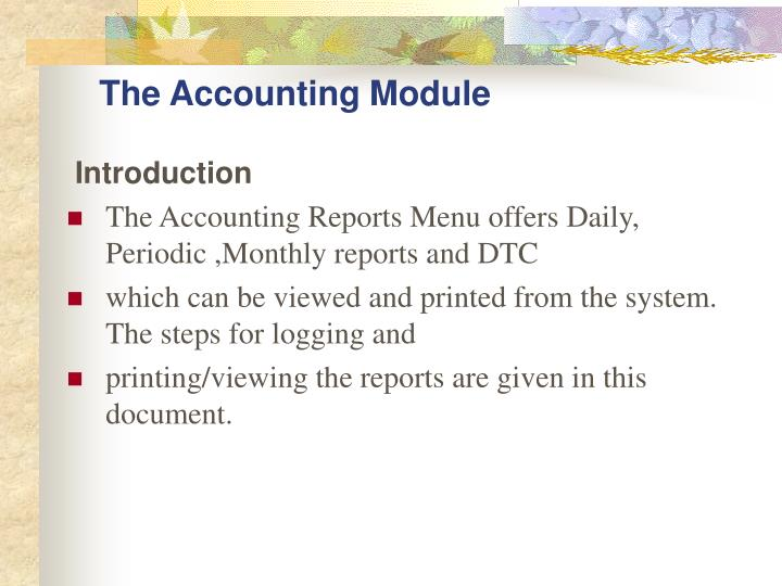 The accounting module