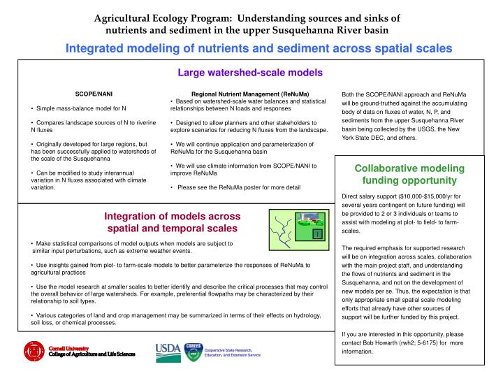 Agricultural Ecology Program:  Understanding sources and sinks of