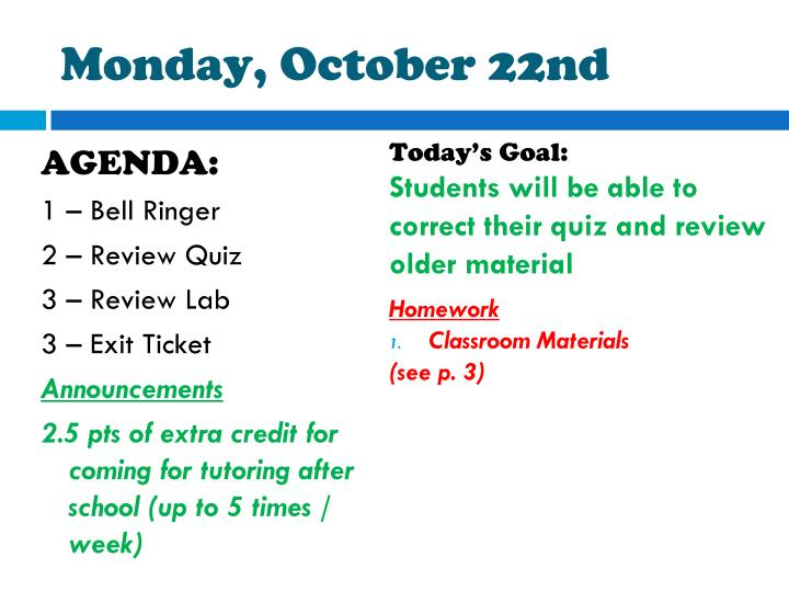 monday october 22nd n.