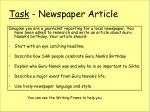 task newspaper article
