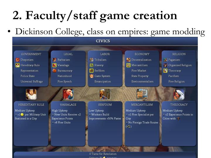 Dickinson College, class on empires: game modding