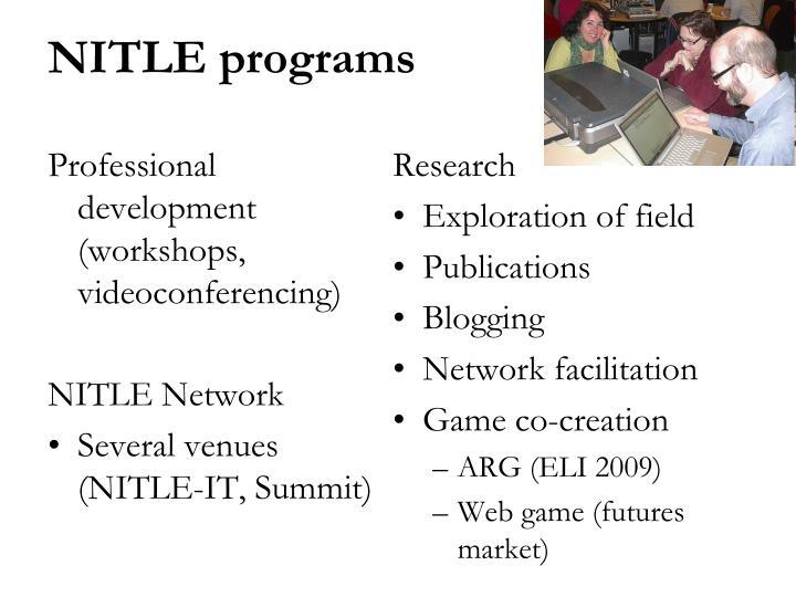 Professional development (workshops, videoconferencing)