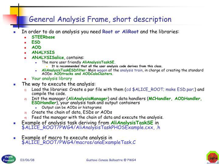 General Analysis Frame, short description