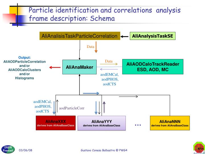 Particle identification and correlations  analysis frame description: Schema
