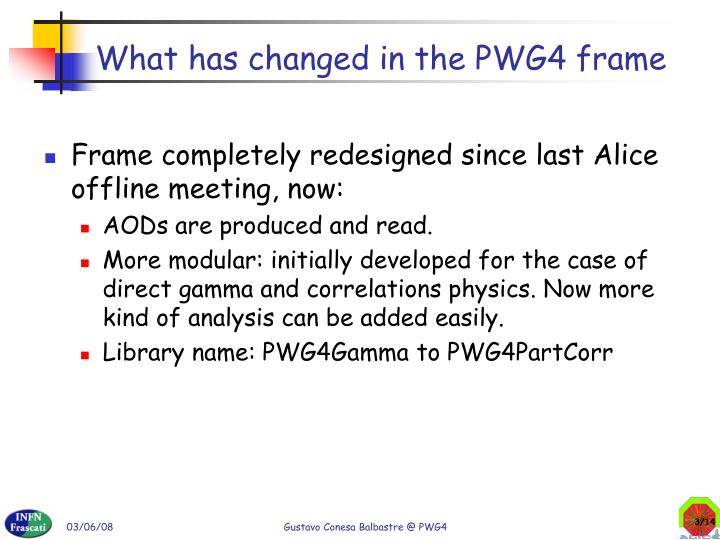What has changed in the pwg4 frame