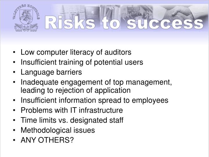 Risks to success