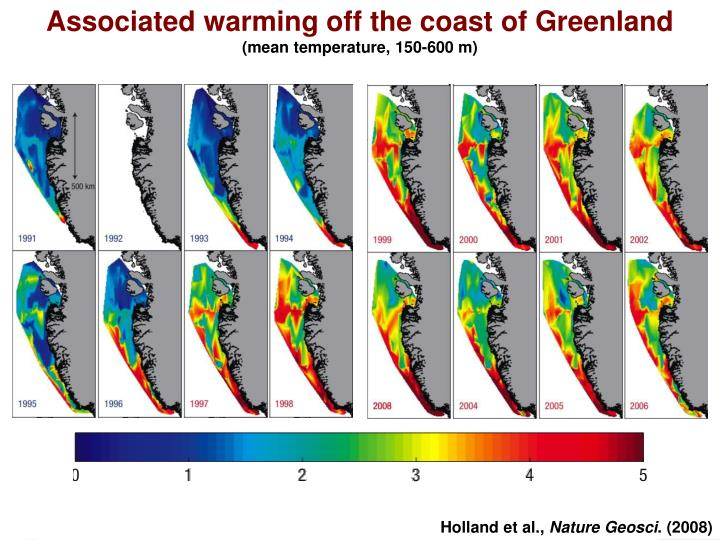 Associated warming off the coast of Greenland