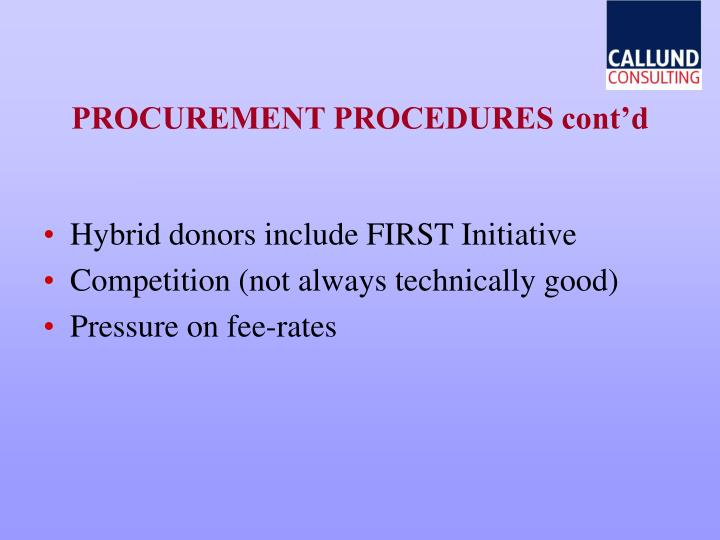 PROCUREMENT PROCEDURES cont'd