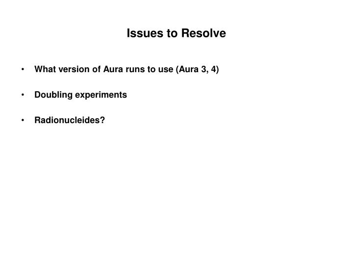 issues to resolve n.