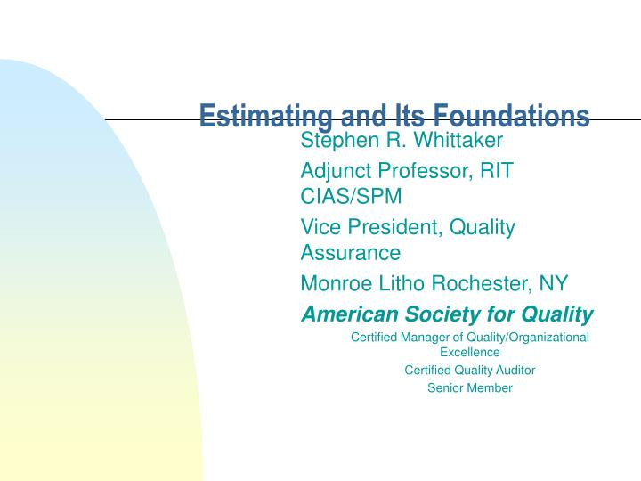 estimating and its foundations n.