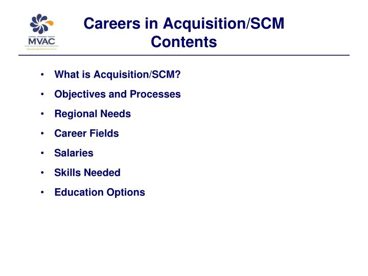 Careers in acquisition scm contents