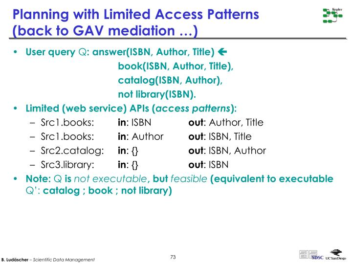 Planning with Limited Access Patterns